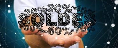 De verkooppictogrammen van de zakenmanholding in zijn hand het 3D teruggeven Stock Afbeeldingen