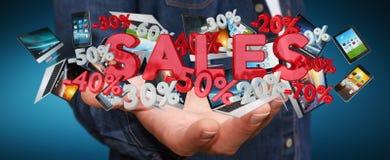 De verkooppictogrammen van de zakenmanholding in zijn hand het 3D teruggeven Stock Foto's