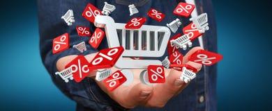 De verkooppictogrammen van de zakenmanholding in zijn hand het 3D teruggeven Stock Afbeelding