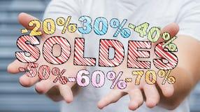 De verkooppictogrammen van de zakenmanholding in zijn hand het 3D teruggeven Stock Foto