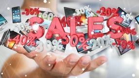 De verkooppictogrammen van de zakenmanholding in zijn hand het 3D teruggeven Royalty-vrije Stock Afbeelding