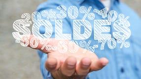 De verkooppictogrammen van de zakenmanholding in zijn hand het 3D teruggeven Royalty-vrije Stock Fotografie