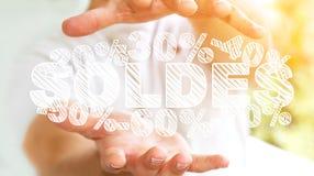 De verkooppictogrammen van de zakenmanholding in zijn hand het 3D teruggeven Royalty-vrije Stock Afbeeldingen