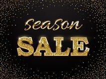 De verkoopteken van het luxe gouden seizoen De vector gouden woorden van de seizoenverkoop op donkere achtergrond Royalty-vrije Stock Foto's