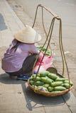 De verkopende mango's van de vrouw royalty-vrije stock afbeeldingen