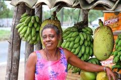 De verkopende Vruchten van de vrouw Royalty-vrije Stock Fotografie