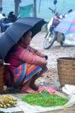 De verkoper bij kan Cau op de markt brengen, Y Ty, Vietnam Stock Fotografie