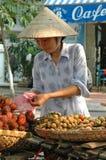 De Verkoper van het fruit, Hanoi, Vietnam Stock Fotografie