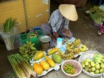 De verkoper van het fruit in Vietnam Stock Foto's