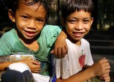 De verkopers van de prentbriefkaar, Kambodja. Royalty-vrije Stock Foto