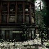 De verlaten Bouw bij Nacht stock illustratie