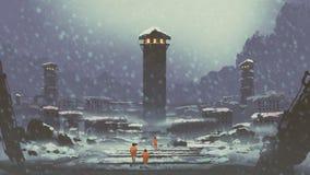 De verlaten gevangenis in de winter vector illustratie