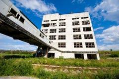 De verlaten industriële bouw Stock Foto's