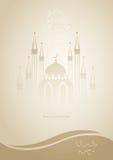 De verlichte Arabische lantaarn op moskee silhouetteerde glanzende bruine achtergrond voor heilige maand van moslim communautaire Stock Foto's