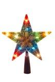 De verlichte Gouden ster van Kerstmis, topper Royalty-vrije Stock Afbeeldingen