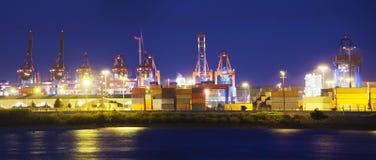 De verlichte Terminal van de Container Stock Fotografie