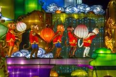 De verlichte vertoning van de Aap Chinese lantaarn Stock Foto