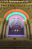 De verlichting van de deur van Kerstmisboom royalty-vrije stock foto
