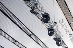 De verlichting van de overlegvlek op stadium Stock Foto's