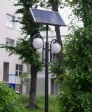 De verlichting van de zonnepaneelstraat Stock Foto