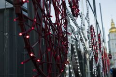 De verlichting van Kerstmisbollen royalty-vrije stock foto