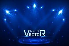 De verlichting van de stadiumvlek Magisch licht Blauwe vectorachtergrond vector illustratie