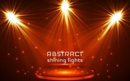 De verlichting van de stadiumvlek Magisch licht Oranje Vectorachtergrond royalty-vrije illustratie