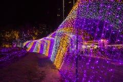 De Verlichtingsfestival 2017 van Thailand over Ratchadapisek Soi 8, Bangkok, Thailand op December21,2017: Licht op Kerstboom en l Stock Foto's