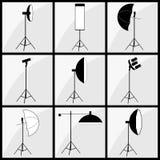 De verlichtingsreeks van de fotograafstudio Stock Foto's