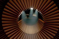 De verlichtingssysteem van het stadium onder dak stock afbeeldingen