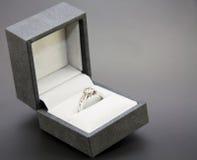 De verlovingsring van het witgoud en van de diamant Stock Foto