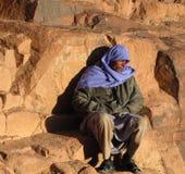 De vermoeide pelgrim, zet Sinai op stock foto