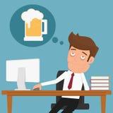 De vermoeide zakenman die denken over ontspant en bier Stock Afbeelding