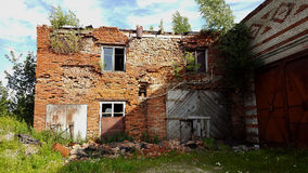 De vernietigde baksteenbouw DONETSK, DE OEKRAÏNE Stock Fotografie