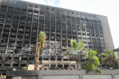De vernietigde bouw in Kaïro Stock Foto