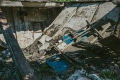 De vernietigde bouw, kan als vernieling, aardbeving, bom, terroristische aanslag of natuurramp worden gebruikt royalty-vrije stock fotografie