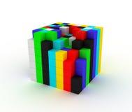 De vernietigde kleurenkubus stock illustratie