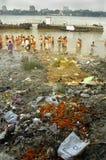 De Verontreiniging van de Rivier van Ganga in Kolkata. Royalty-vrije Stock Afbeelding