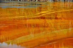 De verontreiniging van het mijnwater in Geamana, dichtbij Rosia Montana, Roemenië Stock Afbeeldingen