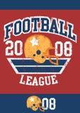 De verontruste affiche van de voetballiga met helm royalty-vrije illustratie