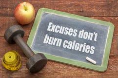 De verontschuldiging brandt geen calorieën stock foto's