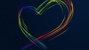 De verpakkende kleurrijke lijnen leiden tot een hartvorm Geanimeerde hartvorm, grafische motie royalty-vrije illustratie