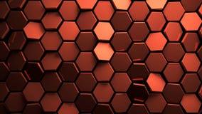 De verplaatste 3d achtergrond van koper abstact zeshoeken geeft terug Royalty-vrije Stock Afbeelding