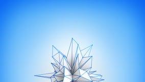 De verplaatste veelhoekige witte 3D vorm geeft terug Stock Afbeeldingen