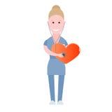 De verpleegster controleert het hart Stock Afbeelding