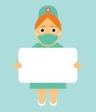 De verpleegster is in de handen van een affiche met de informatie Modern vlak ontwerp Stock Afbeeldingen