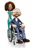 De verpleegster die van het beeldverhaal de oudere mens in rolstoel helpt. Stock Foto's
