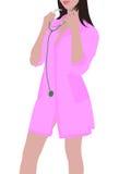 De verpleegster in een roze peignoir Royalty-vrije Stock Afbeeldingen