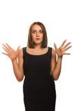 De verraste opgewekte mooie donkerbruine vrouw werpt Royalty-vrije Stock Foto