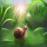 De verraste slak bekijkt gelukkig de daling van dauw vector illustratie